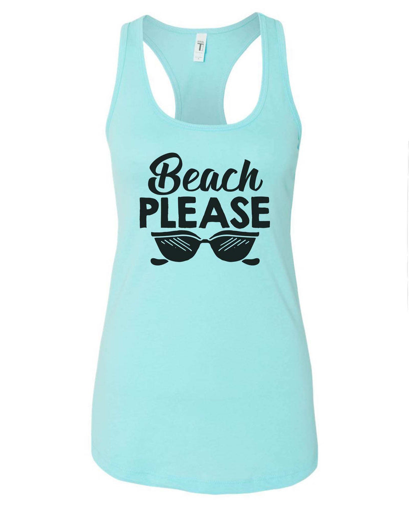 Womens Beach Please Grapahic Design Fitted Tank Top Funny Shirt Small / Cancun