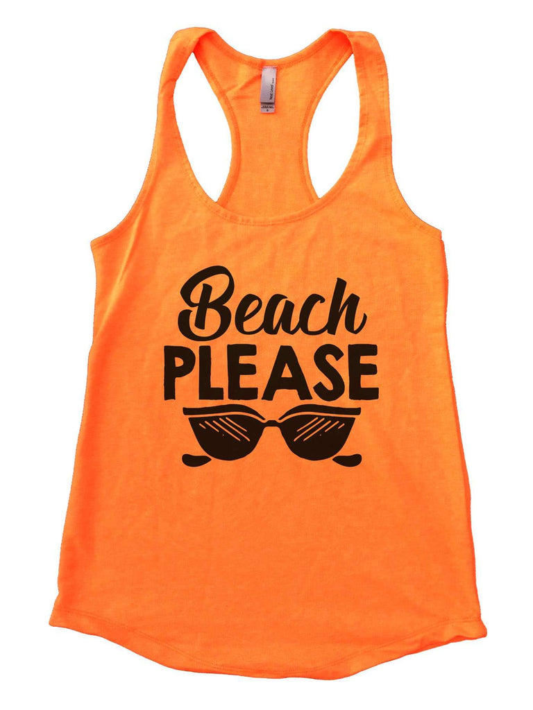 Beach Please Womens Workout Tank Top Funny Shirt Small / Neon Orange