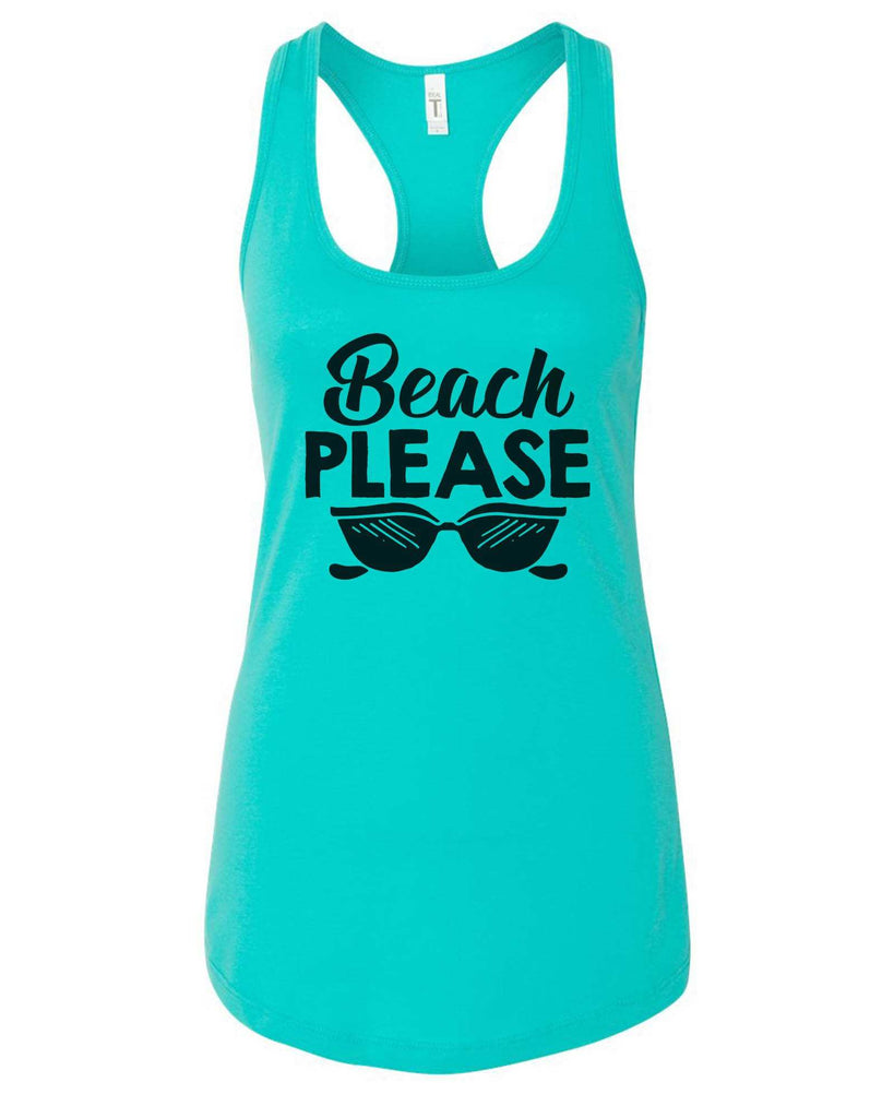 Womens Beach Please Grapahic Design Fitted Tank Top Funny Shirt Small / Sky Blue