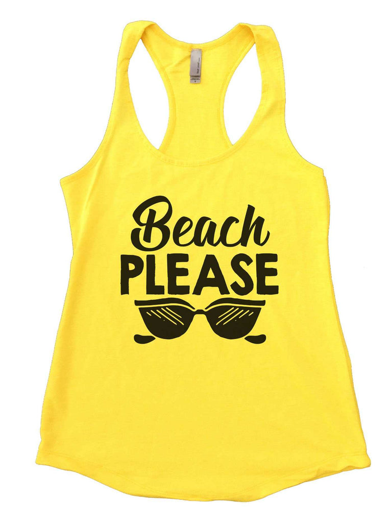 Beach Please Womens Workout Tank Top Funny Shirt Small / Neon Yellow