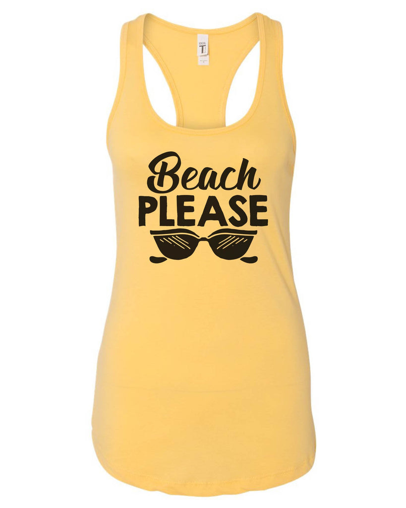 Womens Beach Please Grapahic Design Fitted Tank Top Funny Shirt Small / Yellow