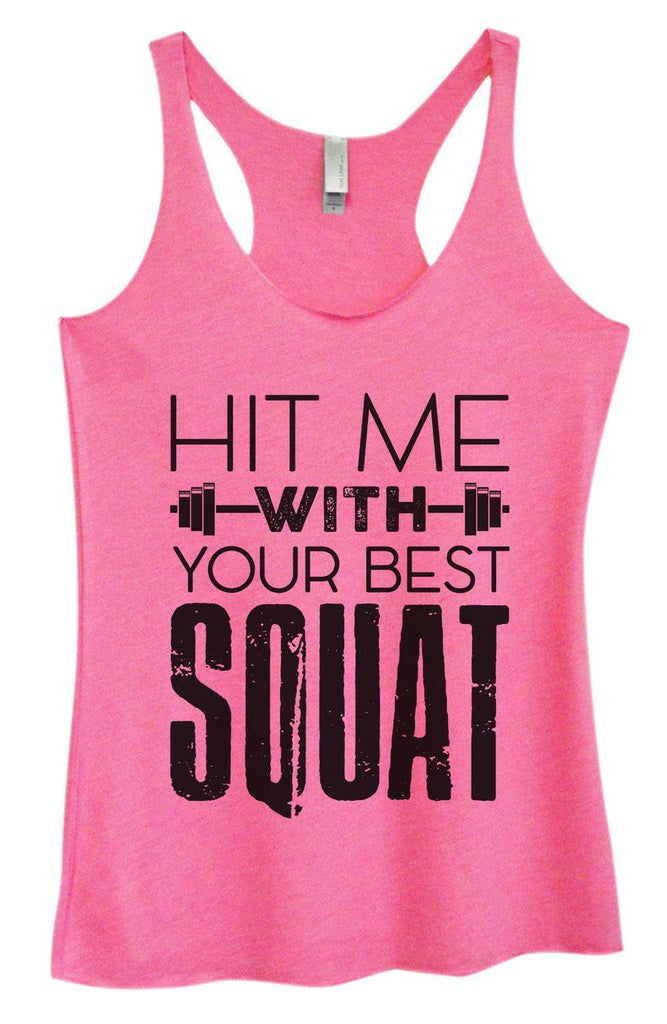 Womens Tri-Blend Tank Top - Hit me with your best squat Funny Shirt Small / Vintage Pink