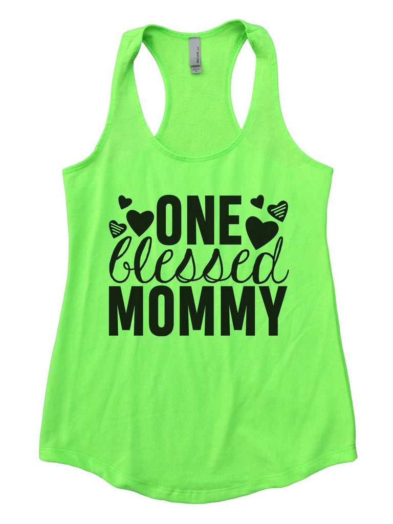 One Blessed Mommy Womens Workout Tank Top Funny Shirt Small / Neon Green