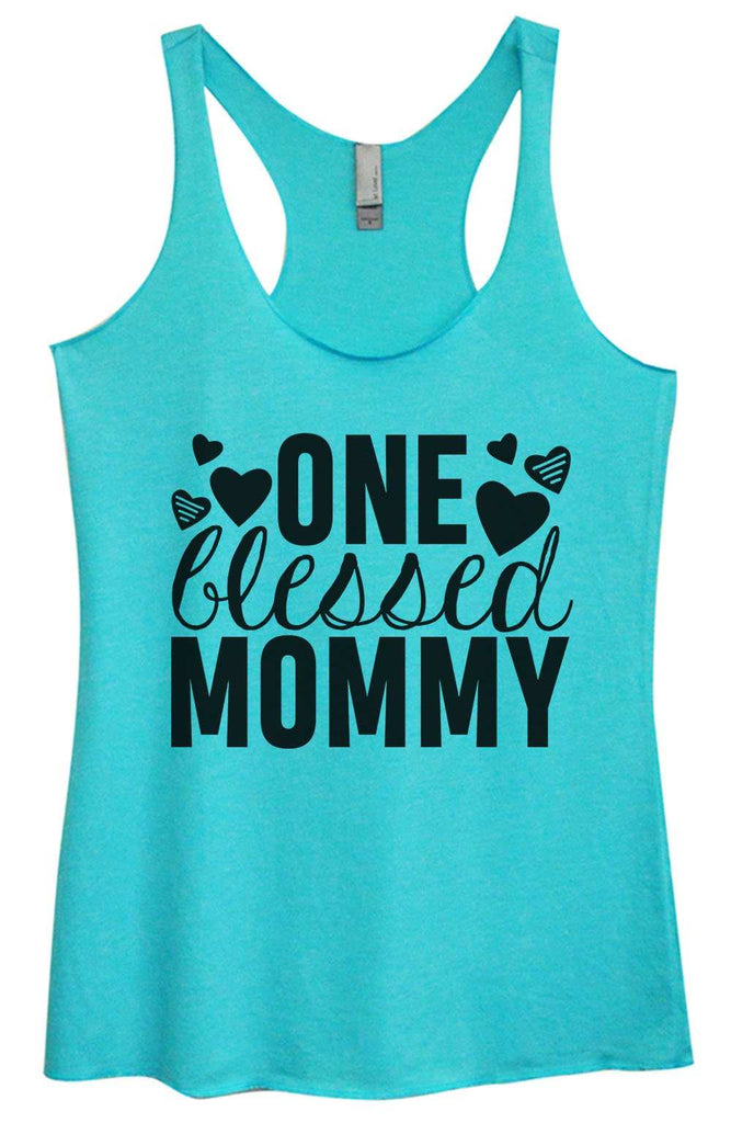 Womens Tri-Blend Tank Top - One blessed mommy Funny Shirt Small / Vintage Blue
