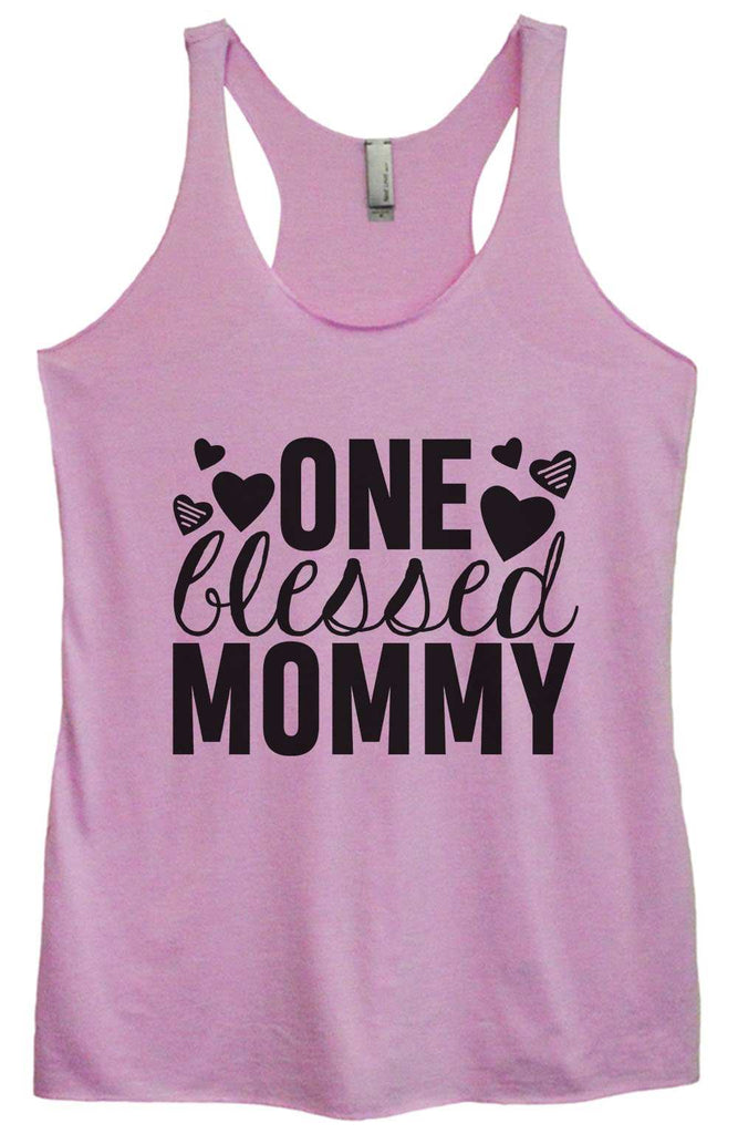 Womens Tri-Blend Tank Top - One blessed mommy Funny Shirt Small / Vintage Lilac