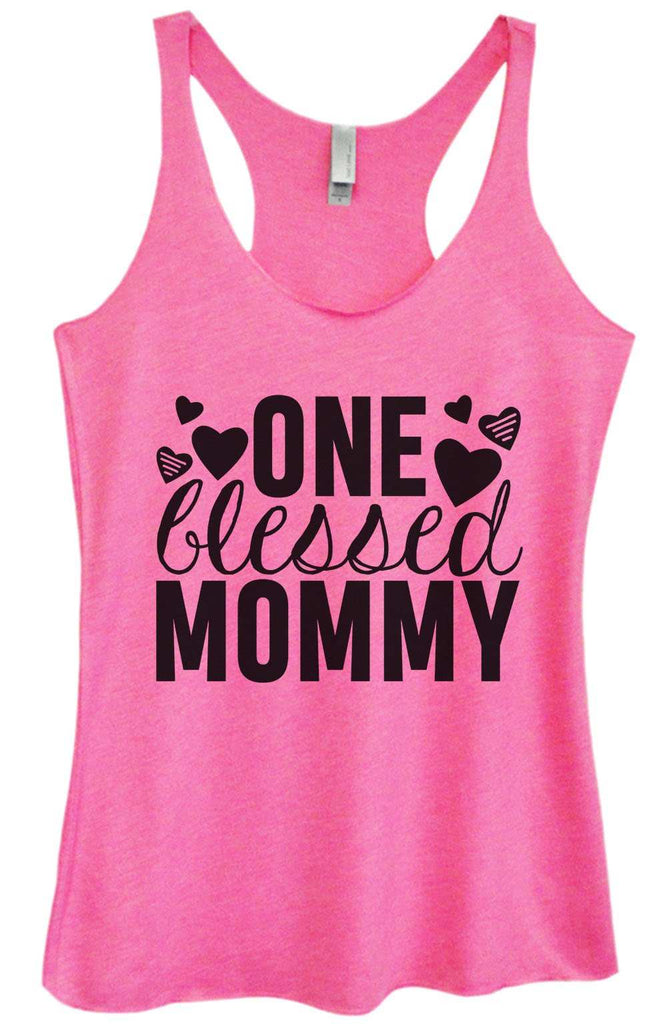 Womens Tri-Blend Tank Top - One blessed mommy Funny Shirt Small / Vintage Pink