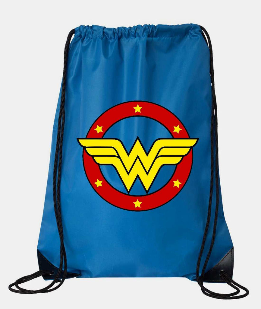 "Drawstring Gym Bag  ""Wonder Woman""  Funny Workout Squatting Gift Funny Shirt Blue Nylon Bag 14"" x 18"""