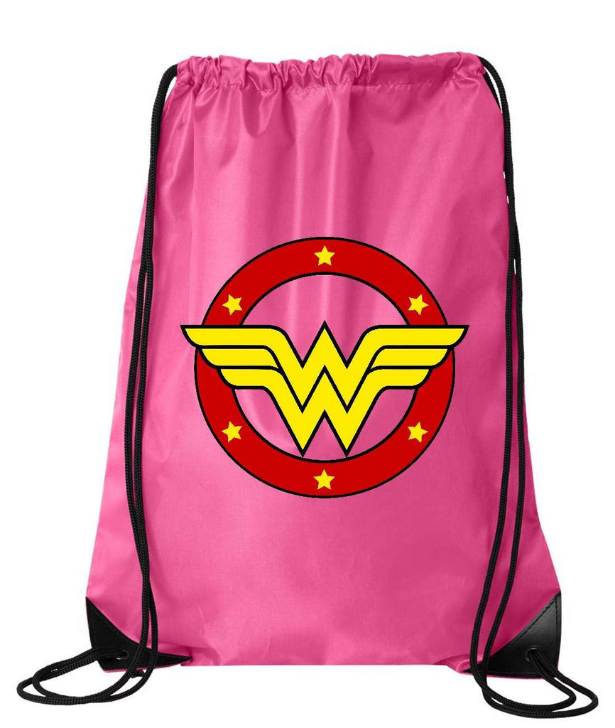 "Drawstring Gym Bag  ""Wonder Woman""  Funny Workout Squatting Gift Funny Shirt Pink Nylon Bag 14"" x 18"""
