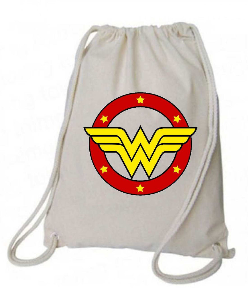 "Drawstring Gym Bag  ""Wonder Woman""  Funny Workout Squatting Gift Funny Shirt Natural Canvas Bag 14"" x 18"""