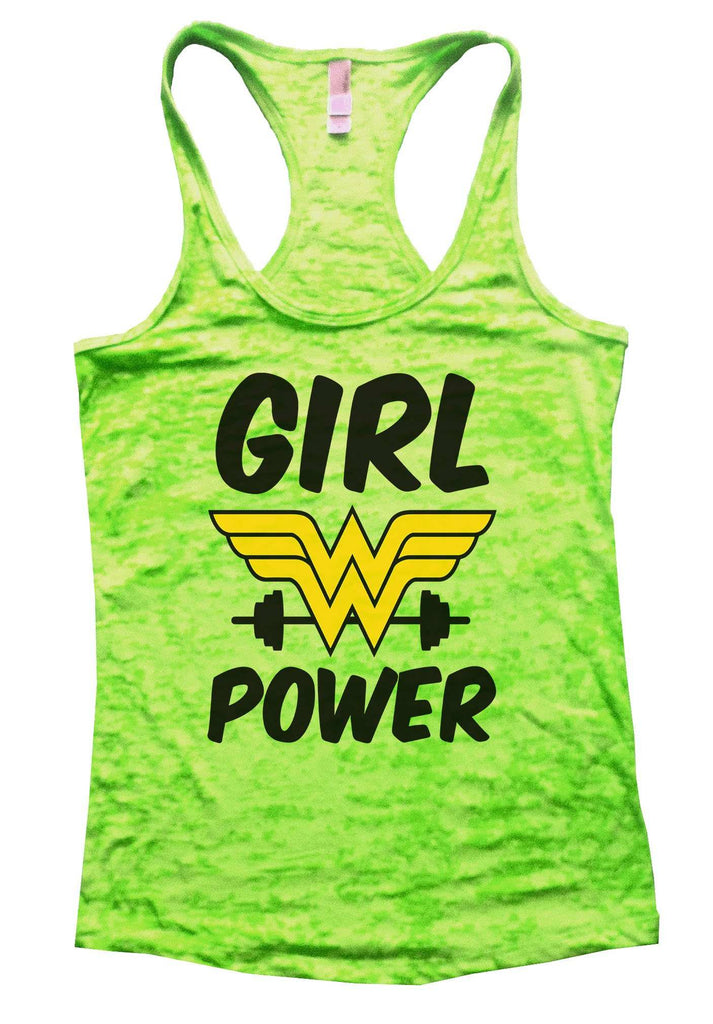 Girl Power Burnout Tank Top By Funny Threadz Funny Shirt Small / Neon Green
