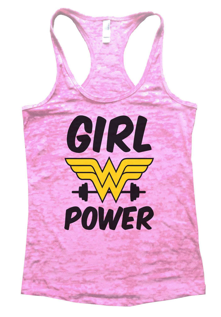 Girl Power Burnout Tank Top By Funny Threadz Funny Shirt Small / Light Pink