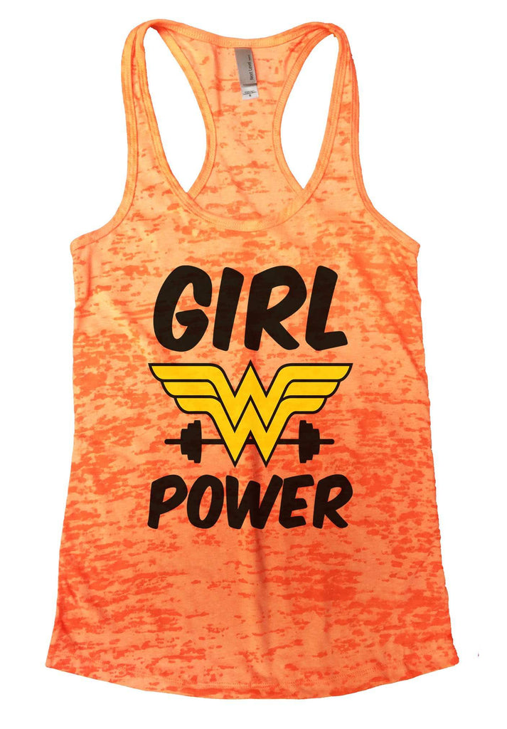 Girl Power Burnout Tank Top By Funny Threadz Funny Shirt Small / Neon Orange