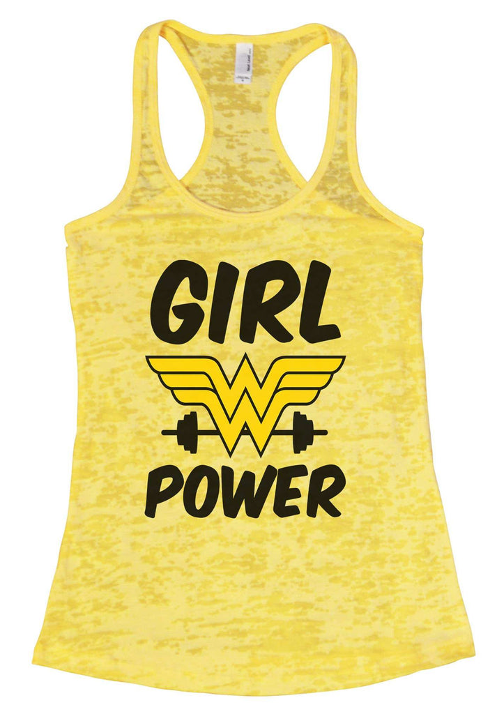 Girl Power Burnout Tank Top By Funny Threadz Funny Shirt Small / Yellow