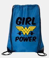 "Drawstring Gym Bag  ""Girl Power""  Funny Workout Squatting Gift Funny Shirt Blue Nylon Bag 14"" x 18"""
