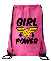 "Drawstring Gym Bag  ""Girl Power""  Funny Workout Squatting Gift Funny Shirt Pink Nylon Bag 14"" x 18"""
