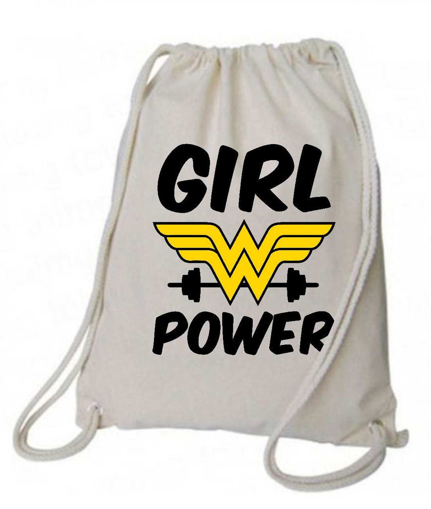 "Drawstring Gym Bag  ""Girl Power""  Funny Workout Squatting Gift Funny Shirt Natural Canvas Bag 14"" x 18"""
