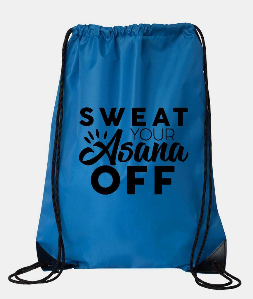 "Drawstring Gym Bag  ""Sweat Your Asana Off""  Funny Workout Squatting Gift"