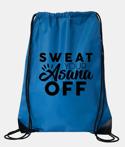 "Drawstring Gym Bag  ""Sweat Your Asana Off""  Funny Workout Squatting Gift Funny Shirt Blue Nylon Bag 14"" x 18"""