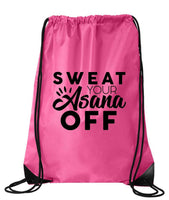 "Drawstring Gym Bag  ""Sweat Your Asana Off""  Funny Workout Squatting Gift Funny Shirt Pink Nylon Bag 14"" x 18"""