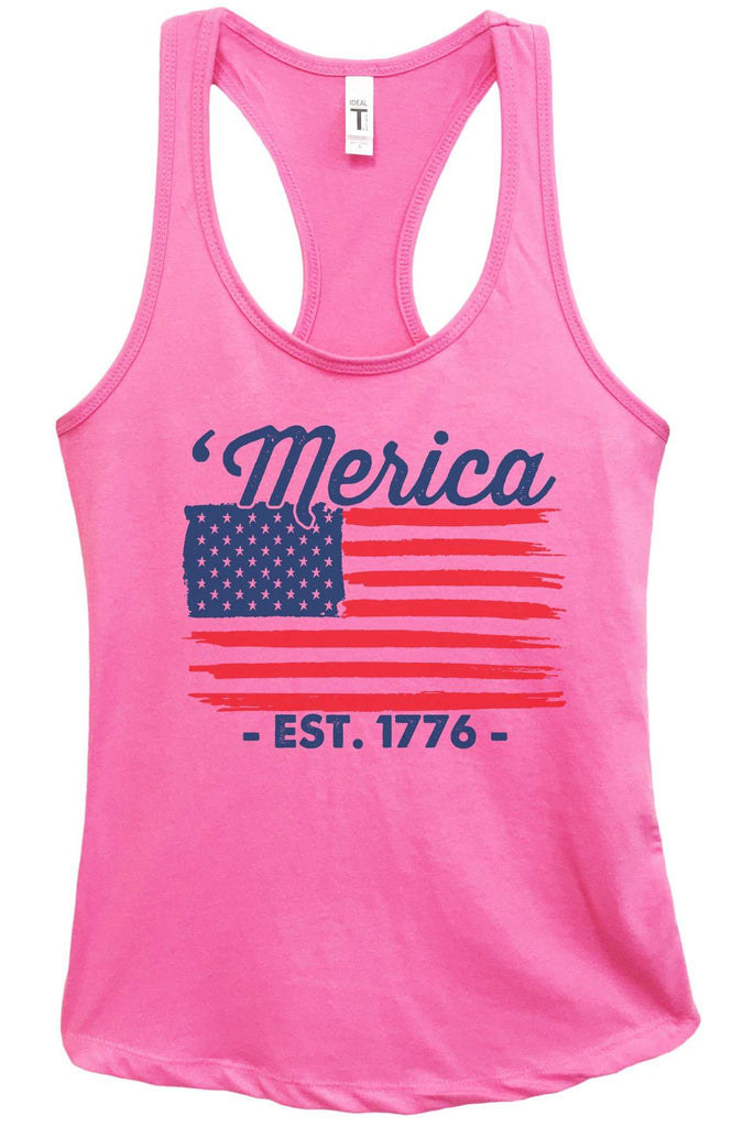 Womens Merica Est. 1776 Grapahic Design Fitted Tank Top Funny Shirt Small / Fuchsia