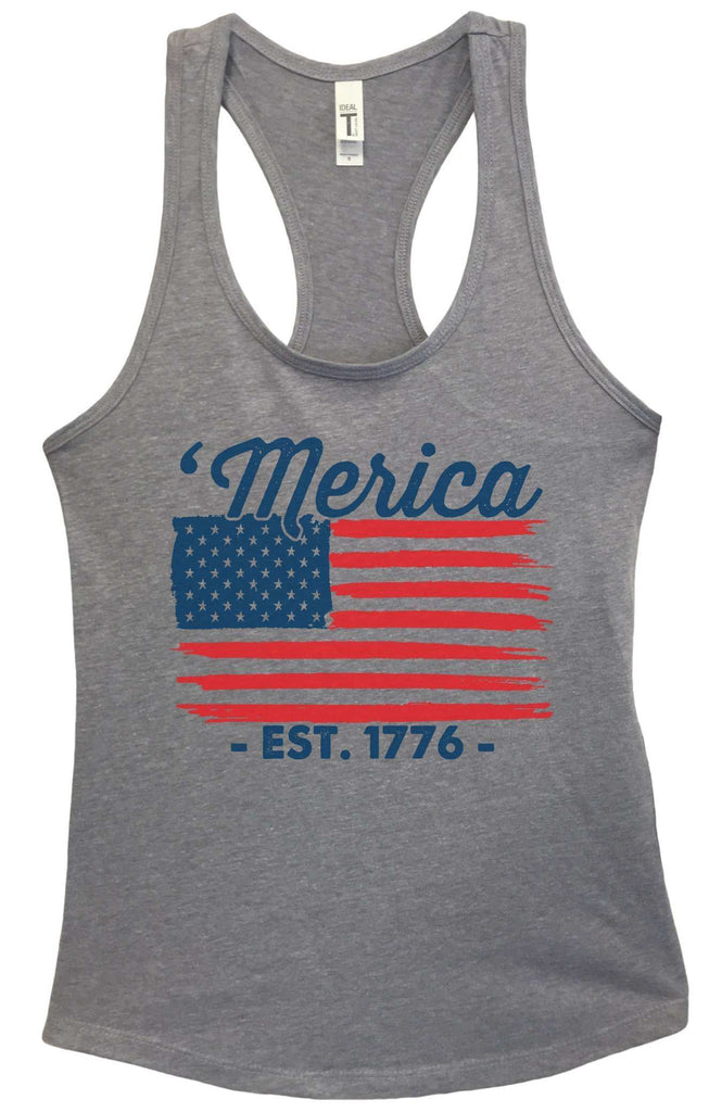 Womens Merica Est. 1776 Grapahic Design Fitted Tank Top Funny Shirt Small / Heather Grey