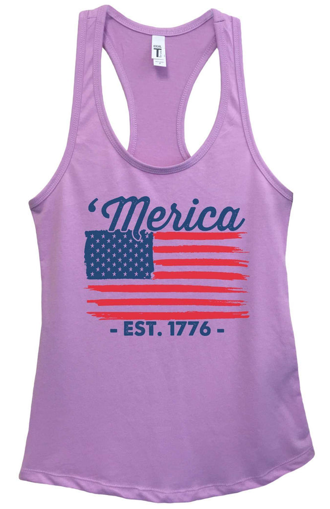 Womens Merica Est. 1776 Grapahic Design Fitted Tank Top Funny Shirt Small / Lavender