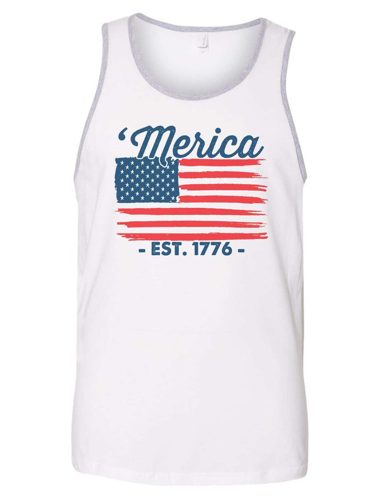 Merica Est. 1776 Mens Tank Top By Funny Threadz Funny Shirt Small / White