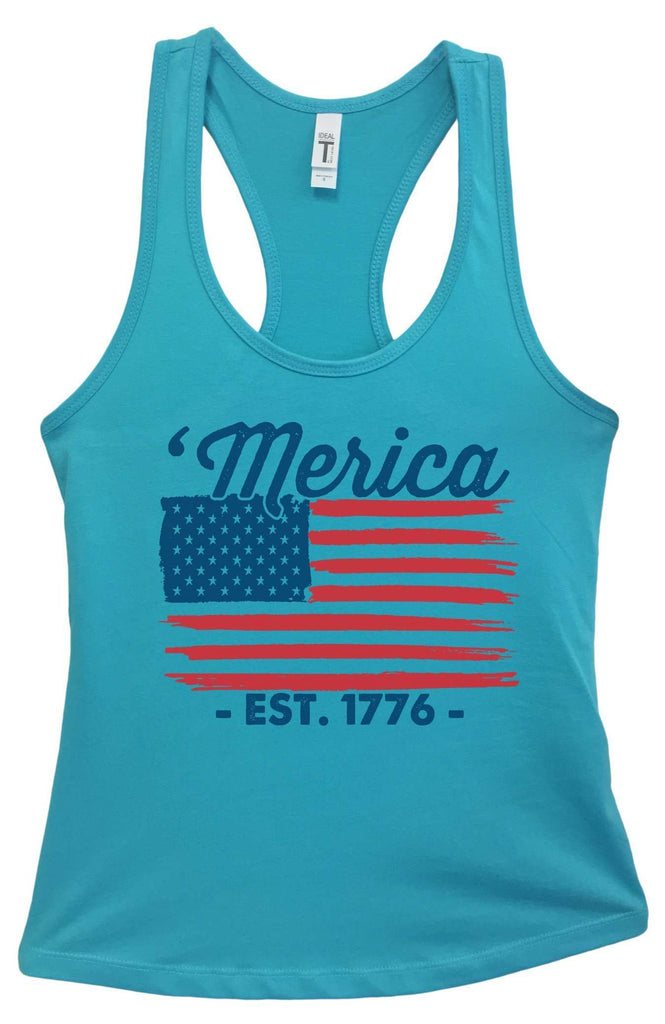 Womens Merica Est. 1776 Grapahic Design Fitted Tank Top Funny Shirt Small / Sky Blue
