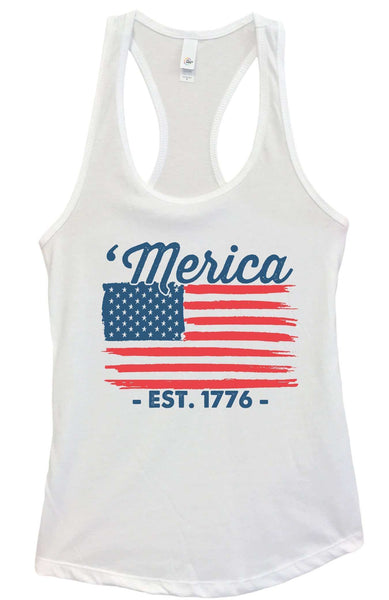 Womens Merica Est. 1776 Grapahic Design Fitted Tank Top Funny Shirt Small / White