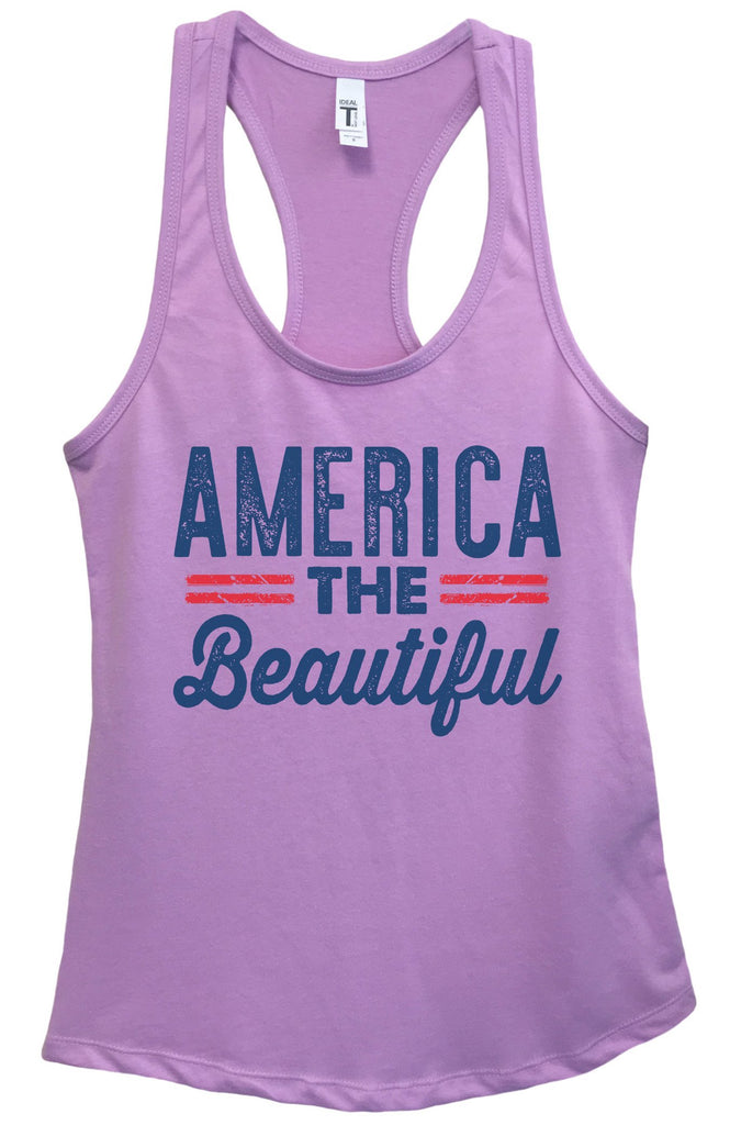 Womens America The Beautiful Grapahic Design Fitted Tank Top Funny Shirt Small / Lavender