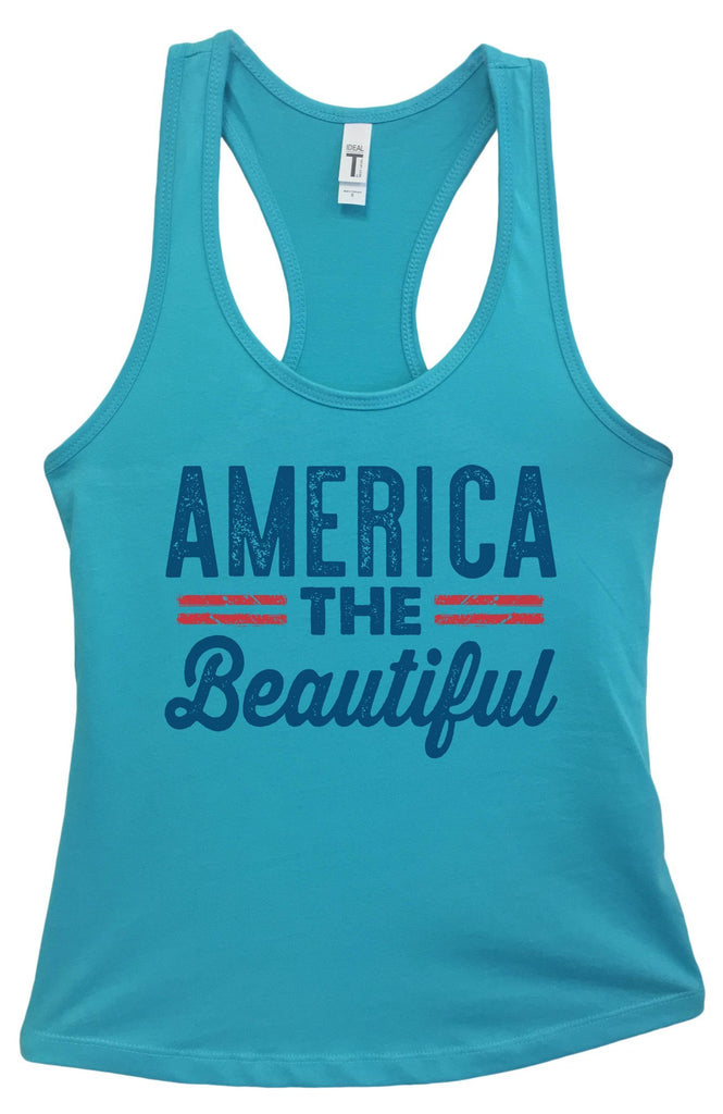 Womens America The Beautiful Grapahic Design Fitted Tank Top Funny Shirt Small / Sky Blue