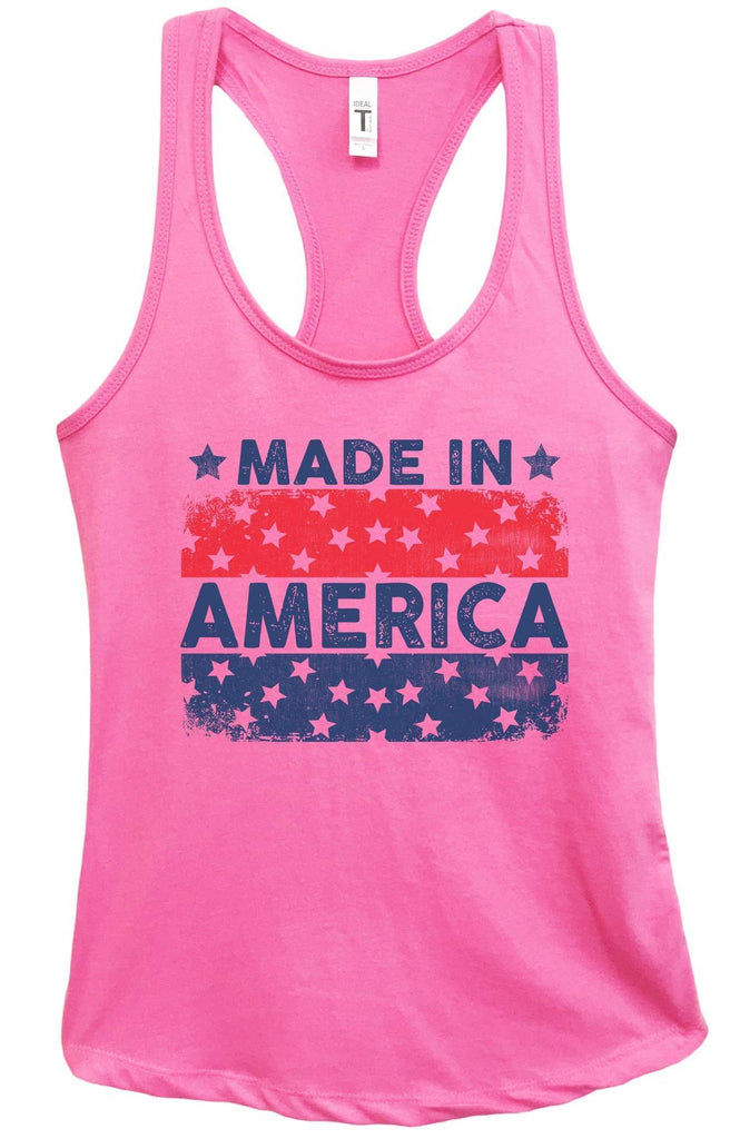 Womens Made In America Grapahic Design Fitted Tank Top Funny Shirt Small / Fuchsia