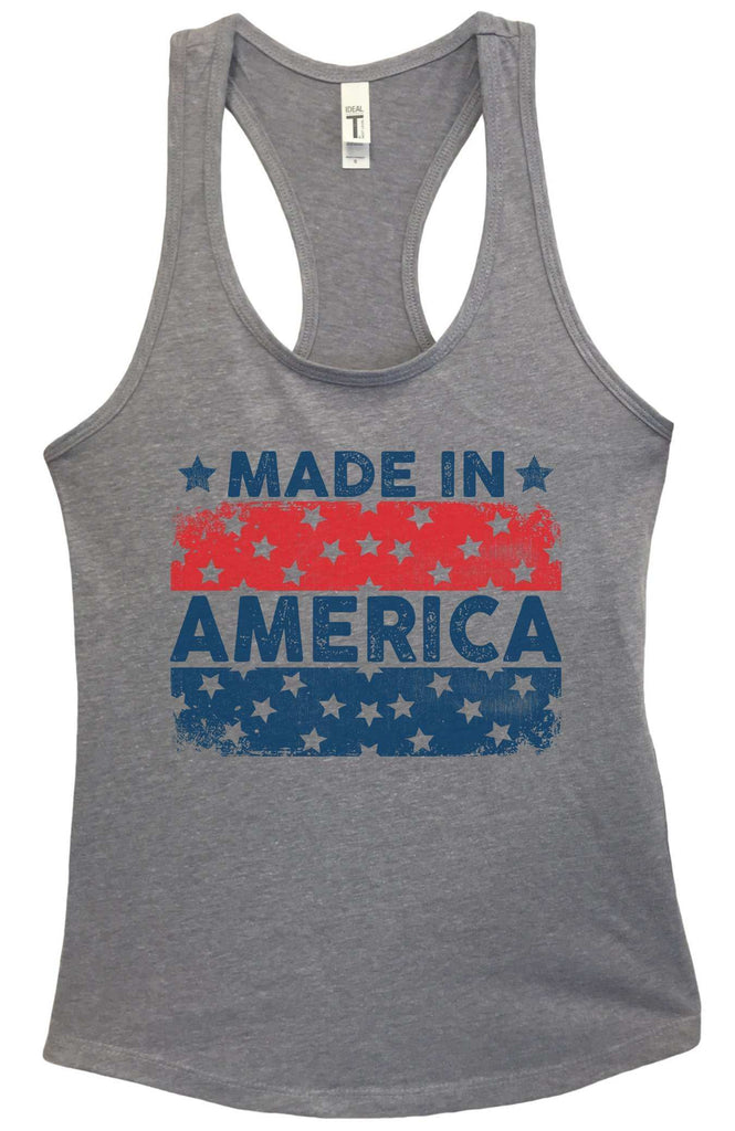 Womens Made In America Grapahic Design Fitted Tank Top Funny Shirt Small / Heather Grey