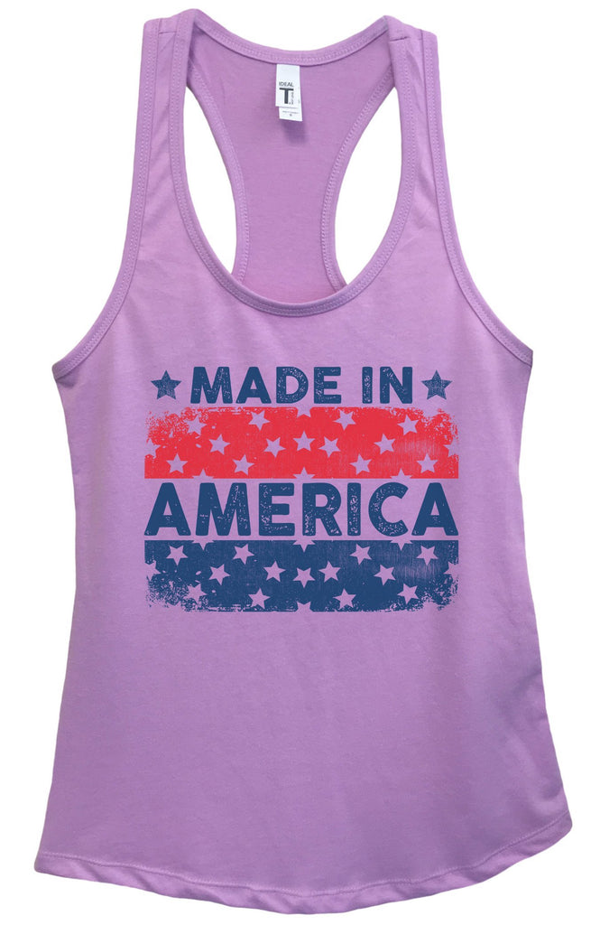 Womens Made In America Grapahic Design Fitted Tank Top Funny Shirt Small / Lavender
