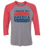Made In America Raglan Baseball Tshirt- Unisex Sizing 3/4 Sleeve