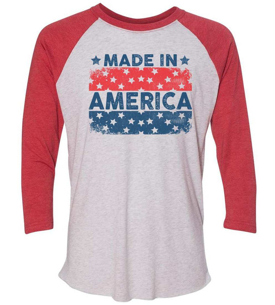 Made In America Raglan Baseball Tshirt- Unisex Sizing 3/4 Sleeve Funny Shirt X-Small / White/ Red Sleeve
