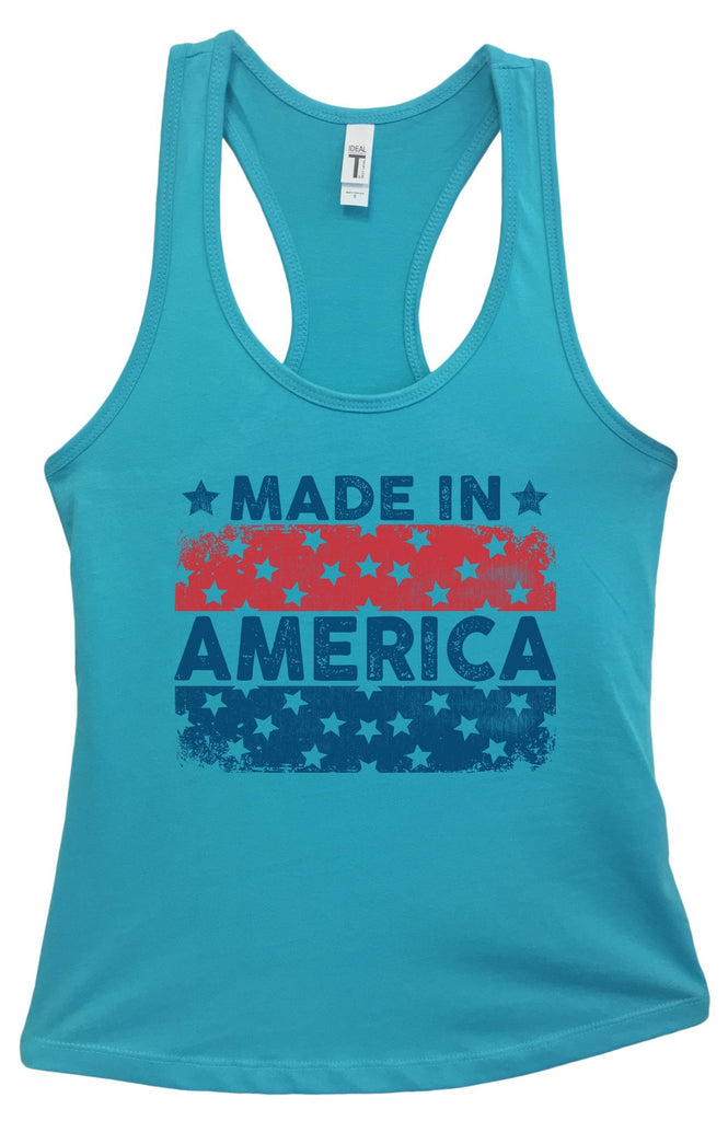 Womens Made In America Grapahic Design Fitted Tank Top Funny Shirt Small / Sky Blue