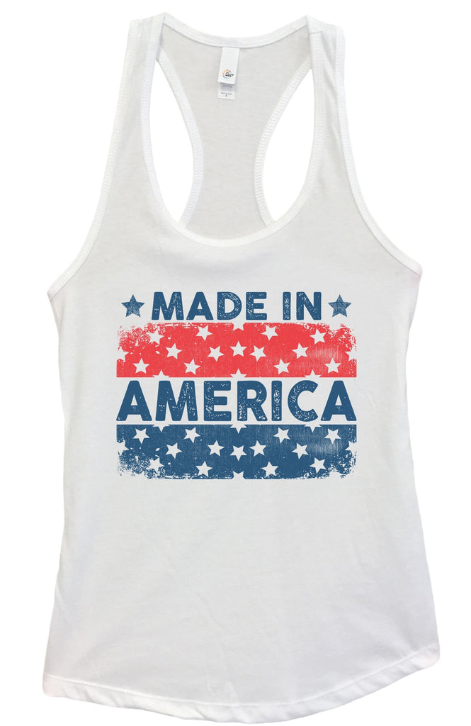 Womens Made In America Grapahic Design Fitted Tank Top Funny Shirt Small / White
