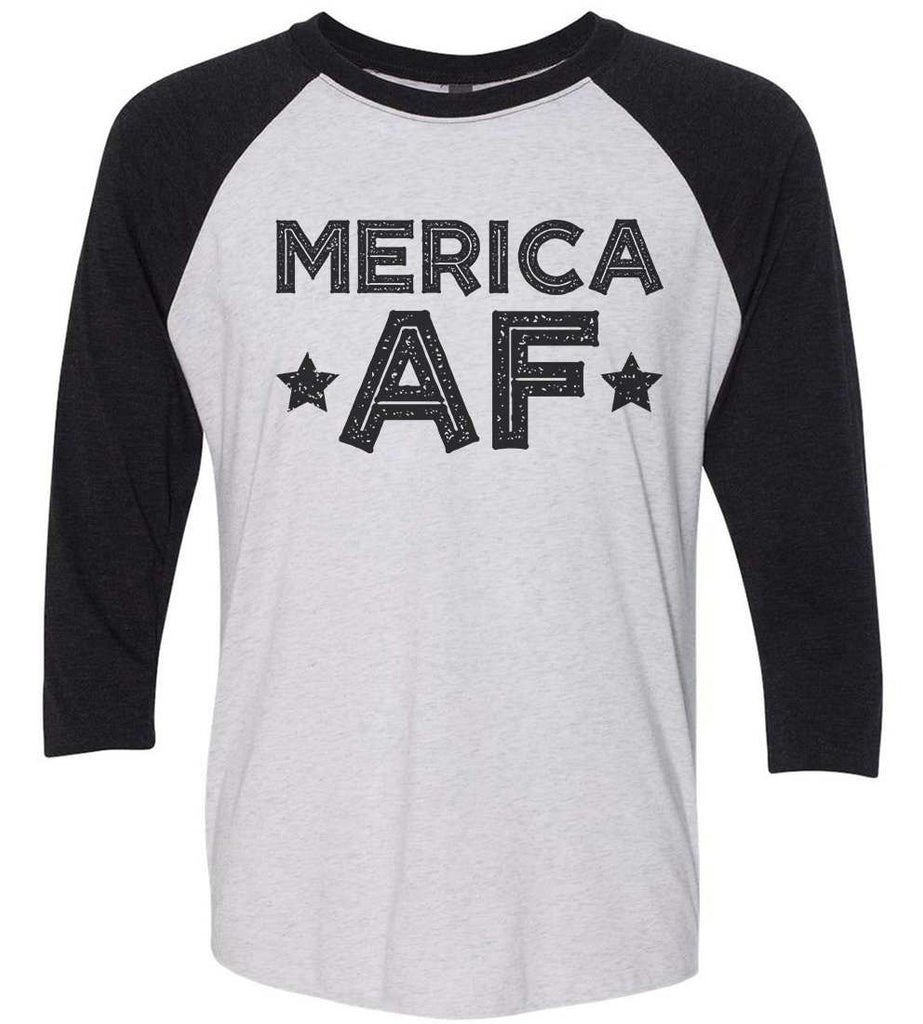 Merica Af Raglan Baseball Tshirt- Unisex Sizing 3/4 Sleeve Funny Shirt X-Small / White/ Black Sleeve