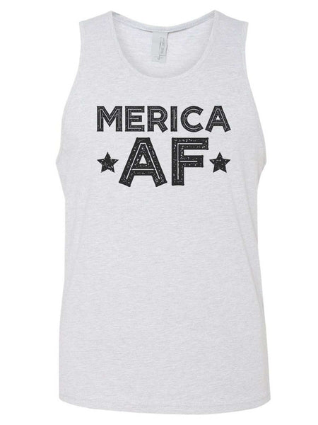 Merica Af Mens Tank Top By Funny Threadz Funny Shirt Small / Grey