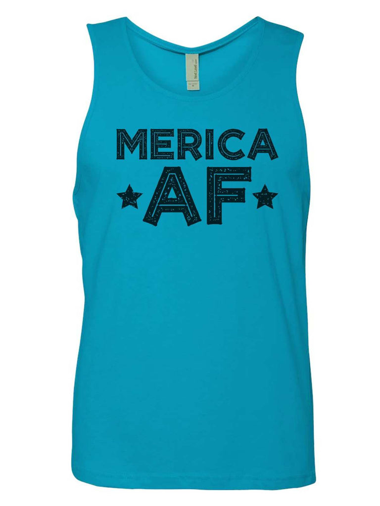 Merica Af Mens Tank Top By Funny Threadz Funny Shirt Small / Tahiti Blue