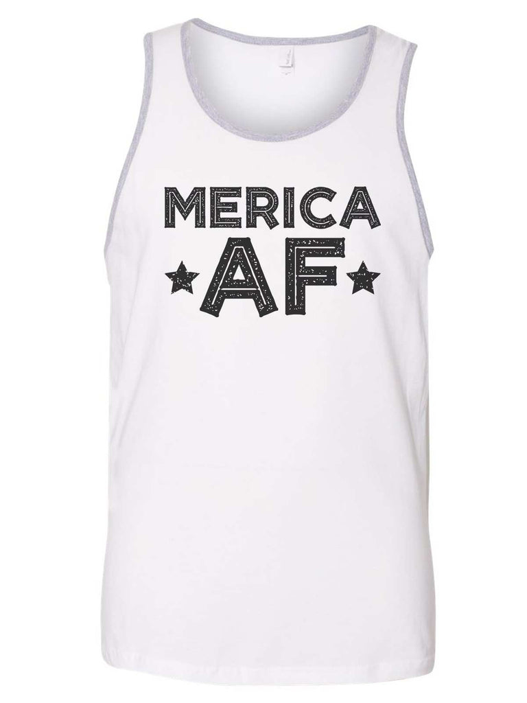 Merica Af Mens Tank Top By Funny Threadz Funny Shirt Small / White