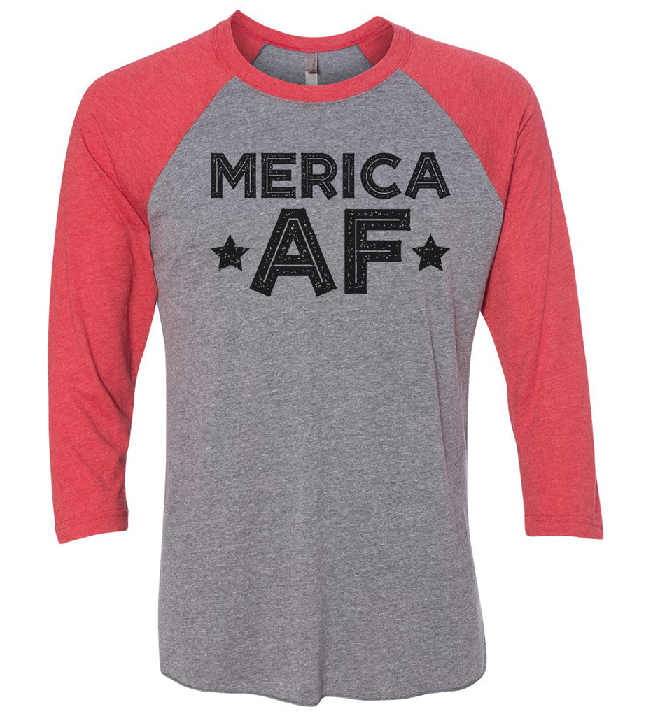 Merica Af Raglan Baseball Tshirt- Unisex Sizing 3/4 Sleeve Funny Shirt X-Small / Grey/ Red Sleeve