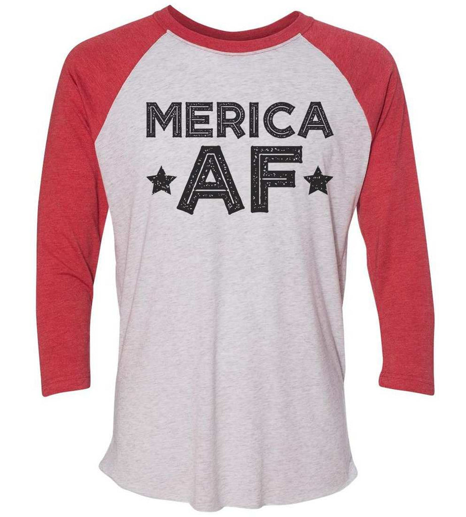 Merica Af Raglan Baseball Tshirt- Unisex Sizing 3/4 Sleeve Funny Shirt X-Small / White/ Red Sleeve