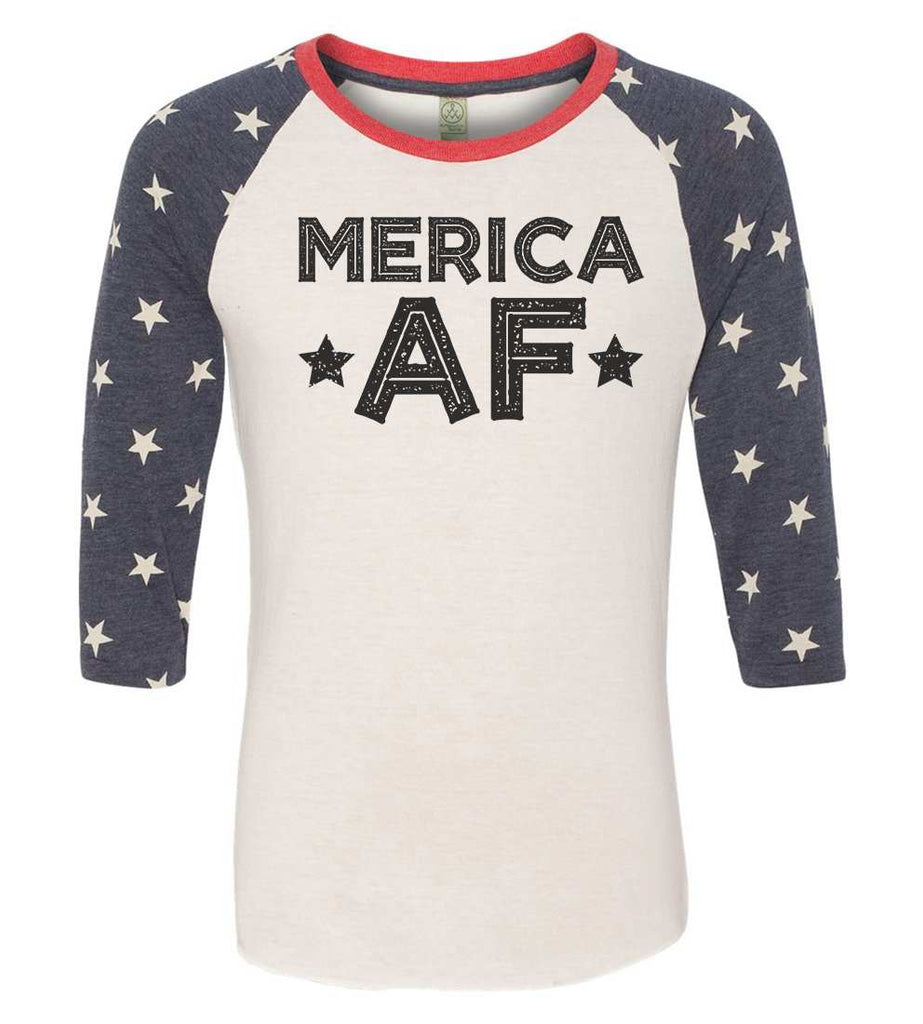 Merica Af Raglan Baseball Tshirt- Unisex Sizing 3/4 Sleeve Funny Shirt X-Small / White/ stripes sleeve