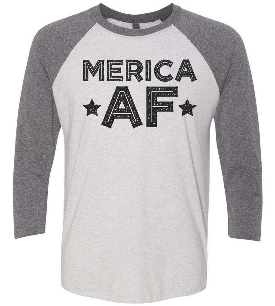 Merica Af Raglan Baseball Tshirt- Unisex Sizing 3/4 Sleeve Funny Shirt X-Small / White/ Grey Sleeve