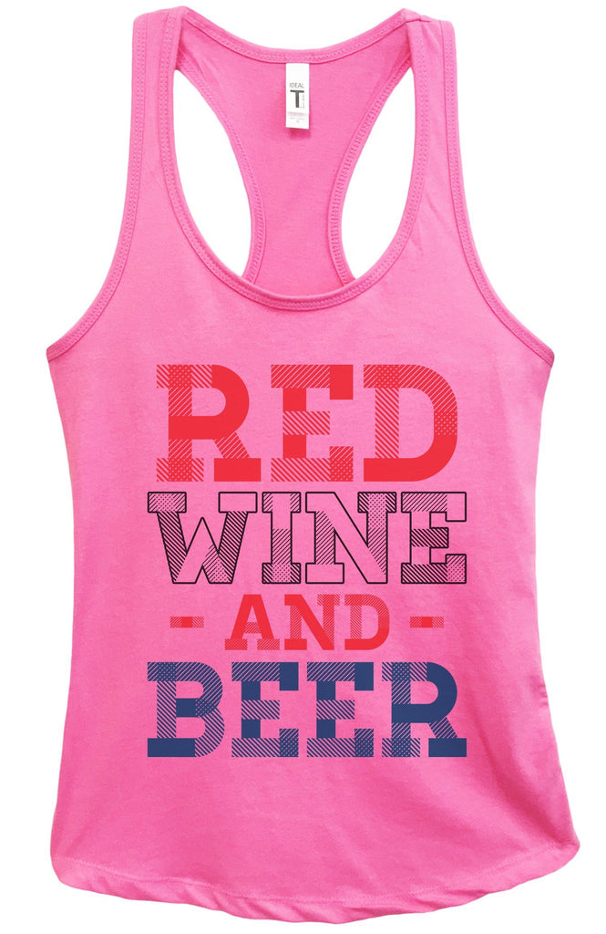 Womens Red Wine And Beer Grapahic Design Fitted Tank Top Funny Shirt Small / Fuchsia