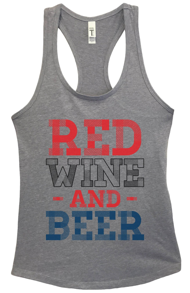 Womens Red Wine And Beer Grapahic Design Fitted Tank Top Funny Shirt Small / Heather Grey