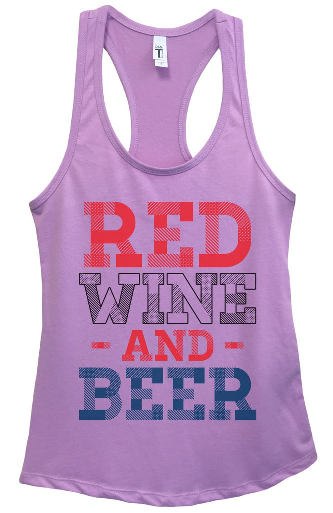 Womens Red Wine And Beer Grapahic Design Fitted Tank Top Funny Shirt Small / Lavender