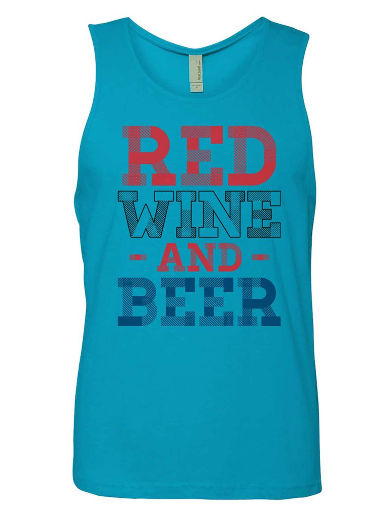 Red Wine And Beer Mens Tank Top By Funny Threadz Funny Shirt Small / Tahiti Blue